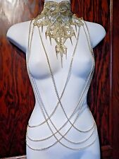 .Gold Chain Lace Body Jewelry necklace harness yoke collar Larp cosplay glam 4Z