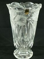 Hand Cut Crystal Vase Made in Poland Scalloped Edge 24% Pbo Original Decals