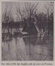 1910  -- INONDATION  UNE VILLA A L ILE DES ANGLAIS PRES DU PONT DE PUTEAUX 3G044