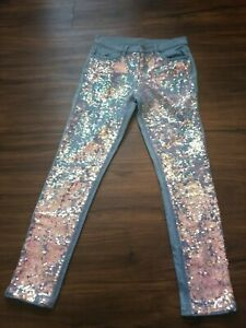 JUSTICE GIRLS SIZE 16 SUPER SKINNY SEQUENCE JEANS