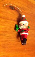 Kurt S. Adler Vintage Ornament Santa Walking w/Christmas Tree Hand-Painted Wood
