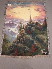 Thomas Kinkade Sunrise Throw-Afghan woven tapestry 51 x 68 inches verse made Usa