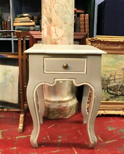 Small Table Grey Lacquered With Piping White / First Half Twentieth Century
