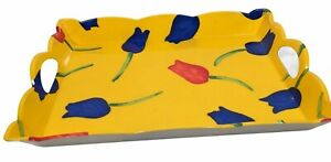 Vintage Floral Design Kitchen Tray Indoor Outdoor BPA Free Yellow Made In Italy