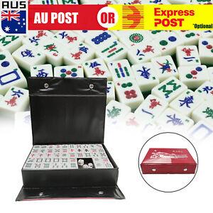 Heavy Duty 144 Tiles Trad Mah-Jong Set Portable Chinese Mahjong Rare Game D