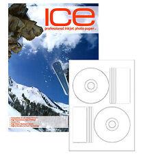 ICE INKJET PRINTABLE OFFSET GLOSS FULL FACE CD LABELS 50 LABEL PACK (25 SHEETS)
