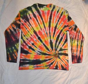 Fire Tie Dye Long Sleeve handmade T shirt festival spiral unique SIZES S-2XL