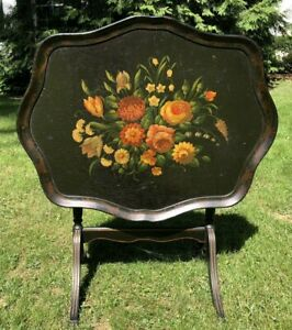 """Antique~EBONIZED&HAND PAINTED WOOD FOLDING TRAY TABLE,22.5""""H X 28.5""""W X 23""""D"""