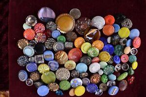 96 pcs LOT OLD CZECH  VINTAGE GLASS BUTTONS 1930´s ART-DECO