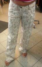 Hose-Damen-Sommer 32 34 36 oder 38 creme oder graublau ger. Bein Hüfthose 30° Wä