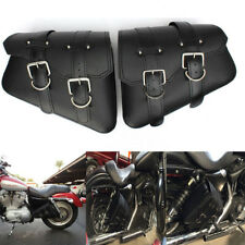 2 ×Motorcycle PU Leather Saddlebags For Harley Sportster XL883 XL1200 Hugger