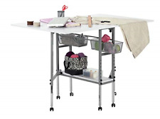 Design Folding Multipurpose Hobby Craft Cutting Table with Drawers Silver White