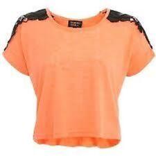 Tokyo Doll Orange and Black Lace Crop Jumper Ladies Size Medium Box456 O SSS
