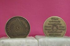 Recovery coins AA 5 Year Bronze Medallion tokens sobriety affirmation birthday