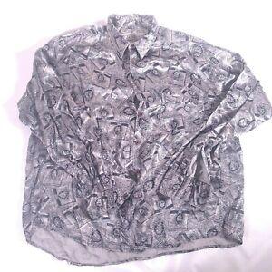 Bellows Brut Le Garage Silk button-down shirt size Large Cigarette Graphic VTG