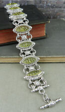 Judith Ripka Sterling Carved Limon Quartz Toggle Bracelet