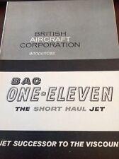72-3 Ephemera 1961 Advert 2 Pages B A C One Eleven The Short Haul Jet British