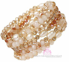Peach Fresh Water Pearl Crystal Gold Tone Faceted Bead Adjustable Coil Bracelet