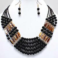 Black Bead Necklace Earrings Set Multi Strand Women Jewelry Set