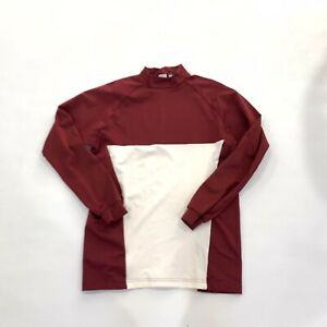Mizuno Mens White Red Maroon Long Sleeve Shirt Size Medium Mock Neck