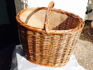 GORGEOUS LIGHT STEAMED WILLOW OVAL HESSIAN LINED STORAGE/SHOPPER BASKET  CUTE