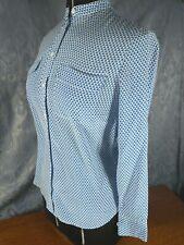 Equipment Femme Womens SILK Button Down Crew Neck Shirt Blue White Size XS
