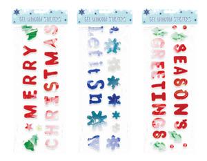 Large Christmas Gel Window Stickers - Decoration Decorate Festive Novelty Season