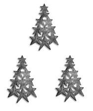 3 Christmas Tree of Stars Ornaments Haitian Metal Handmade Holiday Decor Set