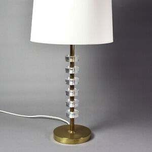 Table Desk Lamp Brass mid Century Brass And Acrylic Glass Lucite Lamp 1.Z