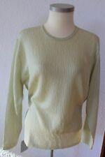 Damen Fein Strick Pullover Pulli Gr. 38 S  Grün Metallic Look Viscose Hohlsaum