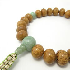 Indian Bodhi tree Wood & Jade Gemstone Japan Juzu Buddhist Prayer beads Bracelet