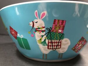 """Christmas Plastic Large Serving Bowl Holiday Home Winter Whimsy 11 1/4"""" Diameter"""