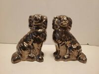 "Pair 6"" Porcelain Staffordshire Dogs Black Vintage Antique"