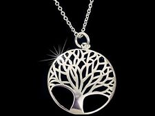 925 Sterling Silver Plated Tree of Life Pendant Necklace Jewellery for Women