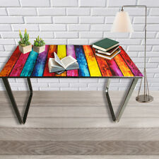 Rainbow Glass Computer Desk Study Table PC Laptop Workstation Home Furniture New