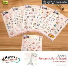 Romantic Paris Travel Stickers Autumn Phone Wedding Decoration Birthday 6 sheets