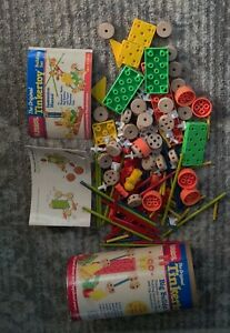 LOT of 187 Tinkertoy  Parts Pieces Rods Spools Couplings Washers Panels 1986