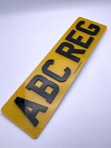 "4D 3D NUMBER PLATE ROAD LEGAL LASER CUT GLOSS BLACK 6 DIGIT 16"" REAR SHORT SIZE"