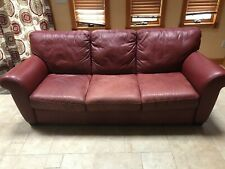 3-Seater Cushion Sofa Couch Genuine Premium Italian Red Leather with 2 Pillows
