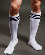 Mens White & Black Stripe Socks Gay Club Fetish Wear Football Sports Stockings