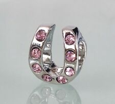 Pink Cz Crystal Lucky Horseshoe Charm For Bracelets Silver Plated