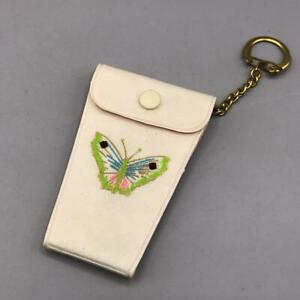 Vintage Clippers Manicure Tool File Key Fob w/ Butterfly Plastic Snap Case
