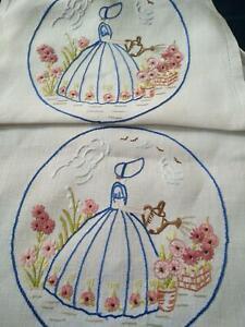 Gorgeous Crinoline Lady Watering Garden  Vintage Hand Embroidered Runner/Scarf