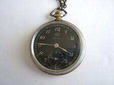 WWII Antique German Pocket Watch UMF Ruhla Saturn Black Dial