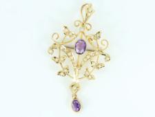 Vintage Amethyst & Seed Pearl Brooch 9ct Gold Ladies Stunning 375 4.3g Eq10