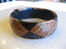 Snake Skin Patterned Cuff Bangle Bracelet Black & Brown / Large Hand Can Wear