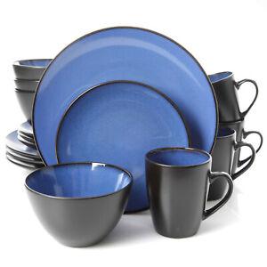 Gibson Home Soho Lounge Round 16 Piece Dinnerware Set, Blue, Stoneware