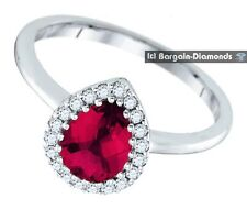 Solitaire with Accents Ruby White Gold 14k Fine Rings