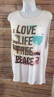 Womens Sleeveless White Beach Graphic T-Shirt Tank Top Tunic XL Open Back