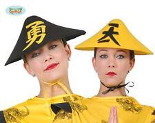Cappello Cinese GIALLO Travestimento Carnevale Uomo Donna della Cina nuovo